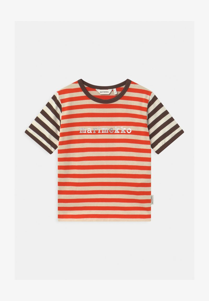 Marimekko - LEUTO TASARAITA UNISEX - T-shirt imprimé - orange red/light beige