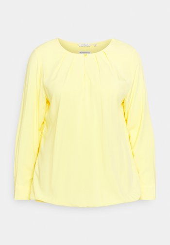 BLOUSE WITH PLEATED NECKLINE - Long sleeved top - mellow yellow