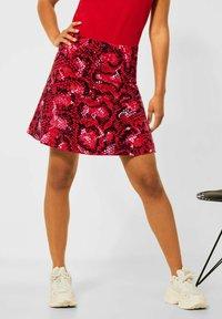 Street One - MIT PRINT - A-line skirt - rot - 1