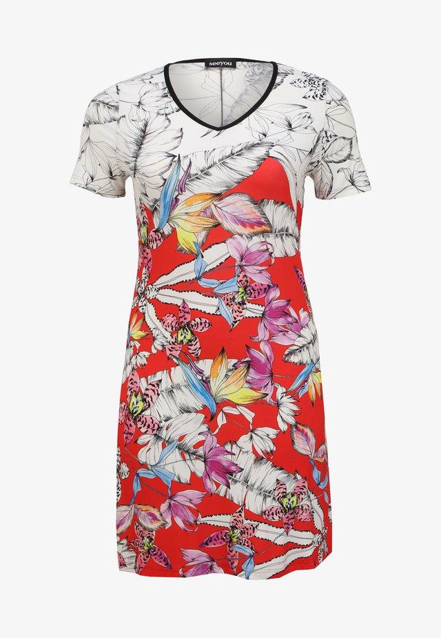 FLORAL - Jersey dress - erdbeer