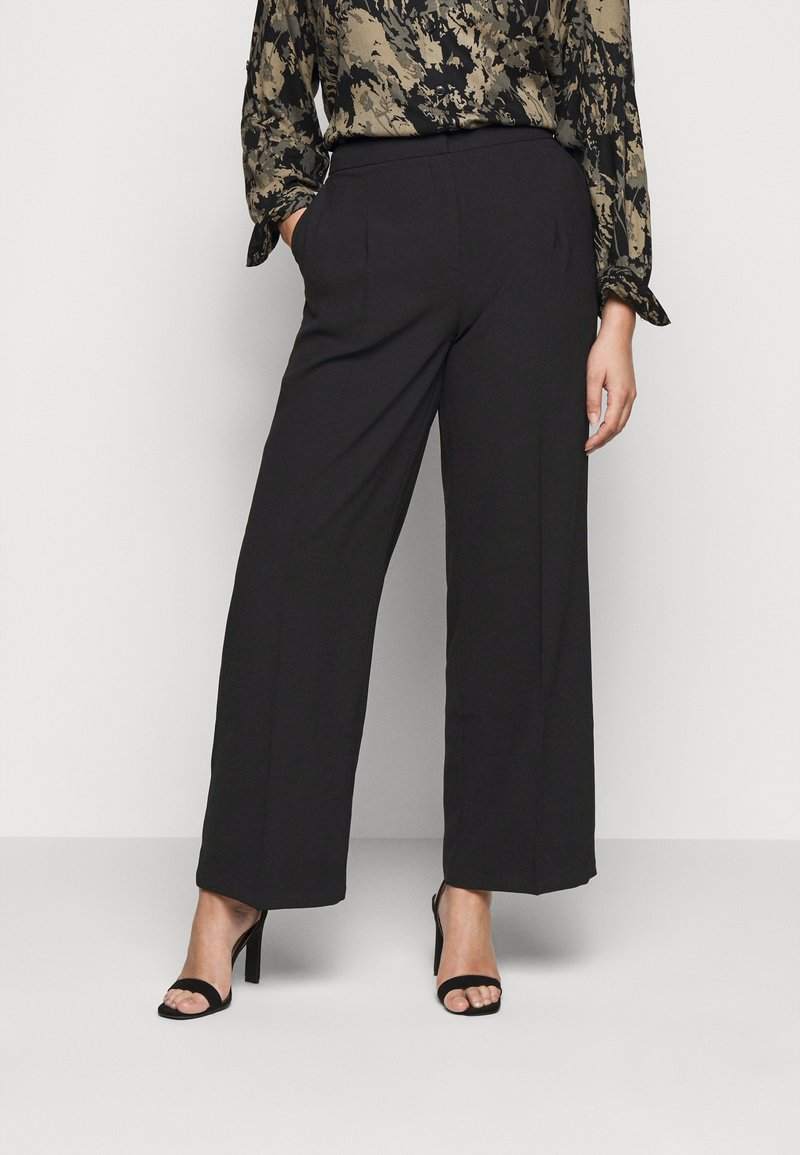 Selected Femme Curve - SLFDINNI WIDE PANT - Trousers - black