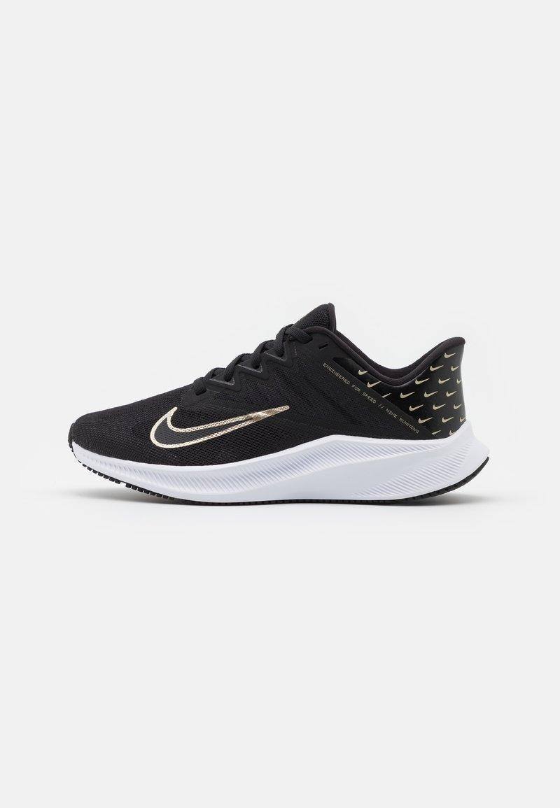 Nike Performance - QUEST 3 PRM - Neutral running shoes - black/metallic gold grain/iron grey