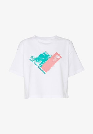 MOUNTAIN CROP TEE - Print T-shirt - white/mauveglow/jaiden green