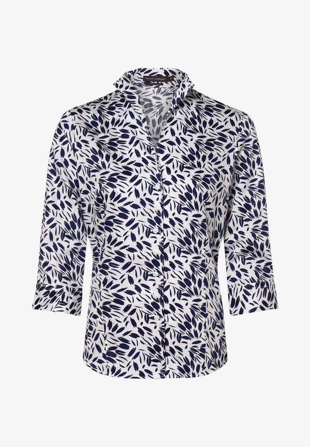 Button-down blouse - marin/weiß