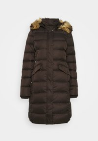 Marc O'Polo - COAT LONG FILLED HOOD FLAP POCKETS - Down coat - dark chocolate - 0