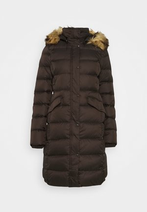 COAT LONG FILLED HOOD FLAP POCKETS - Down coat - dark chocolate