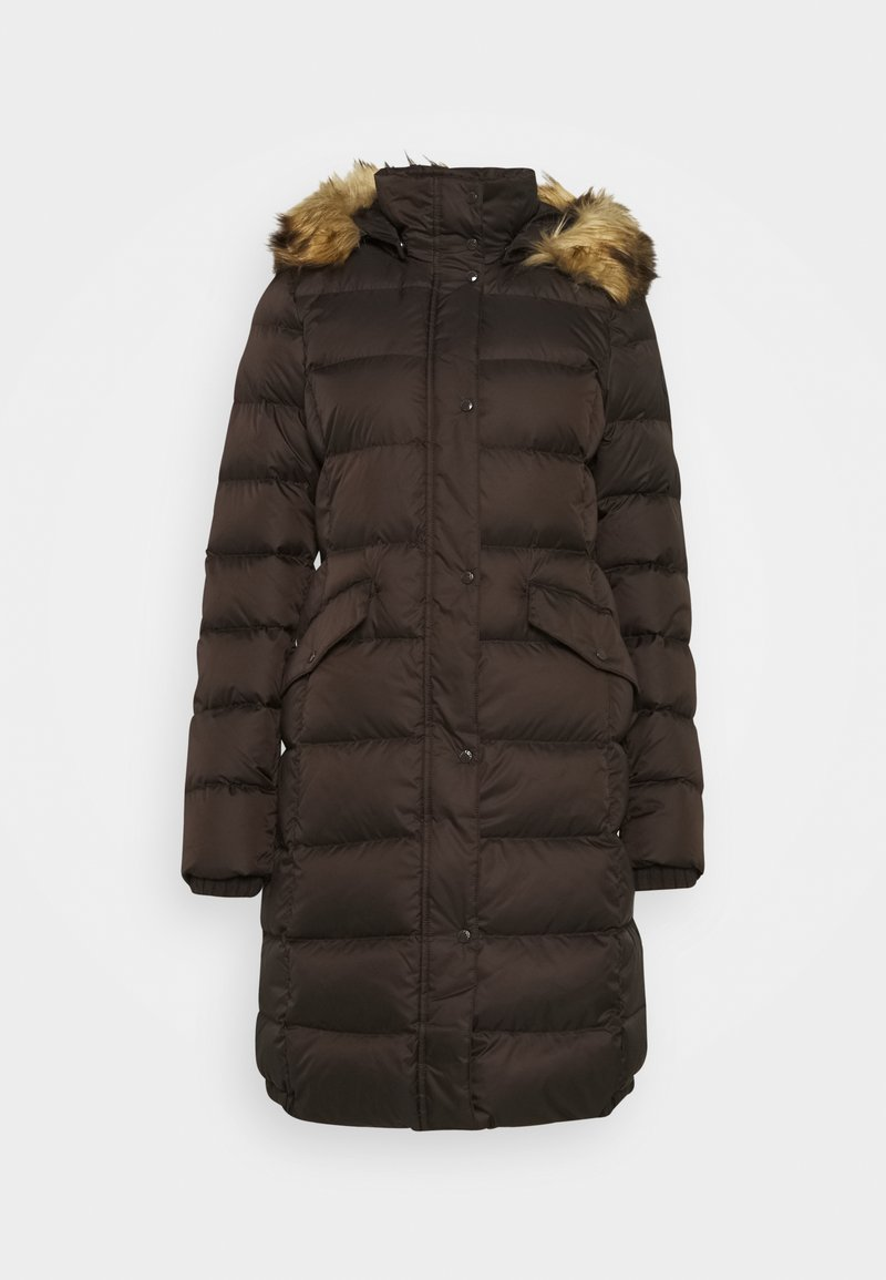 Marc O'Polo - COAT LONG FILLED HOOD FLAP POCKETS - Down coat - dark chocolate