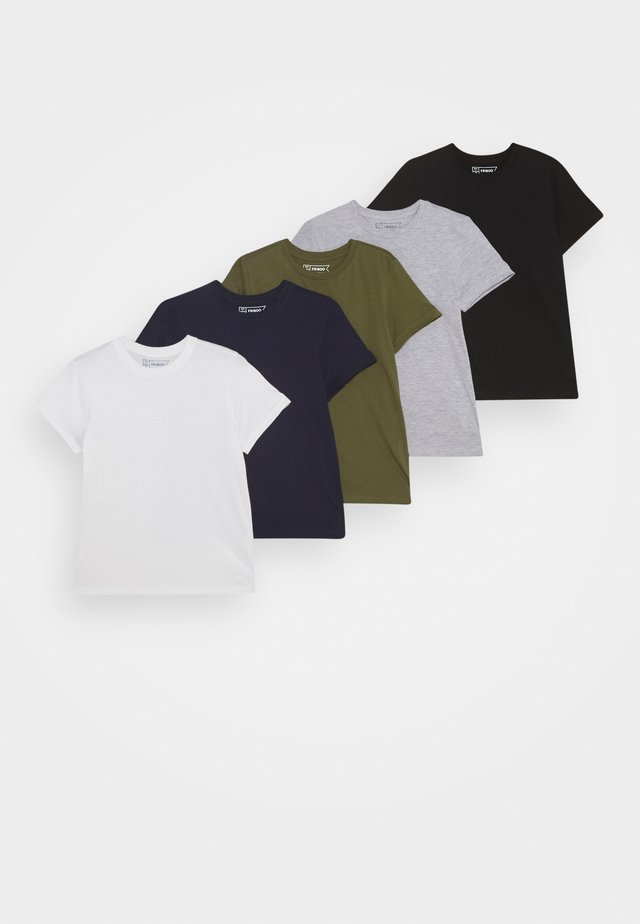 5 PACK - T-shirt - bas - white/light grey/dark blue
