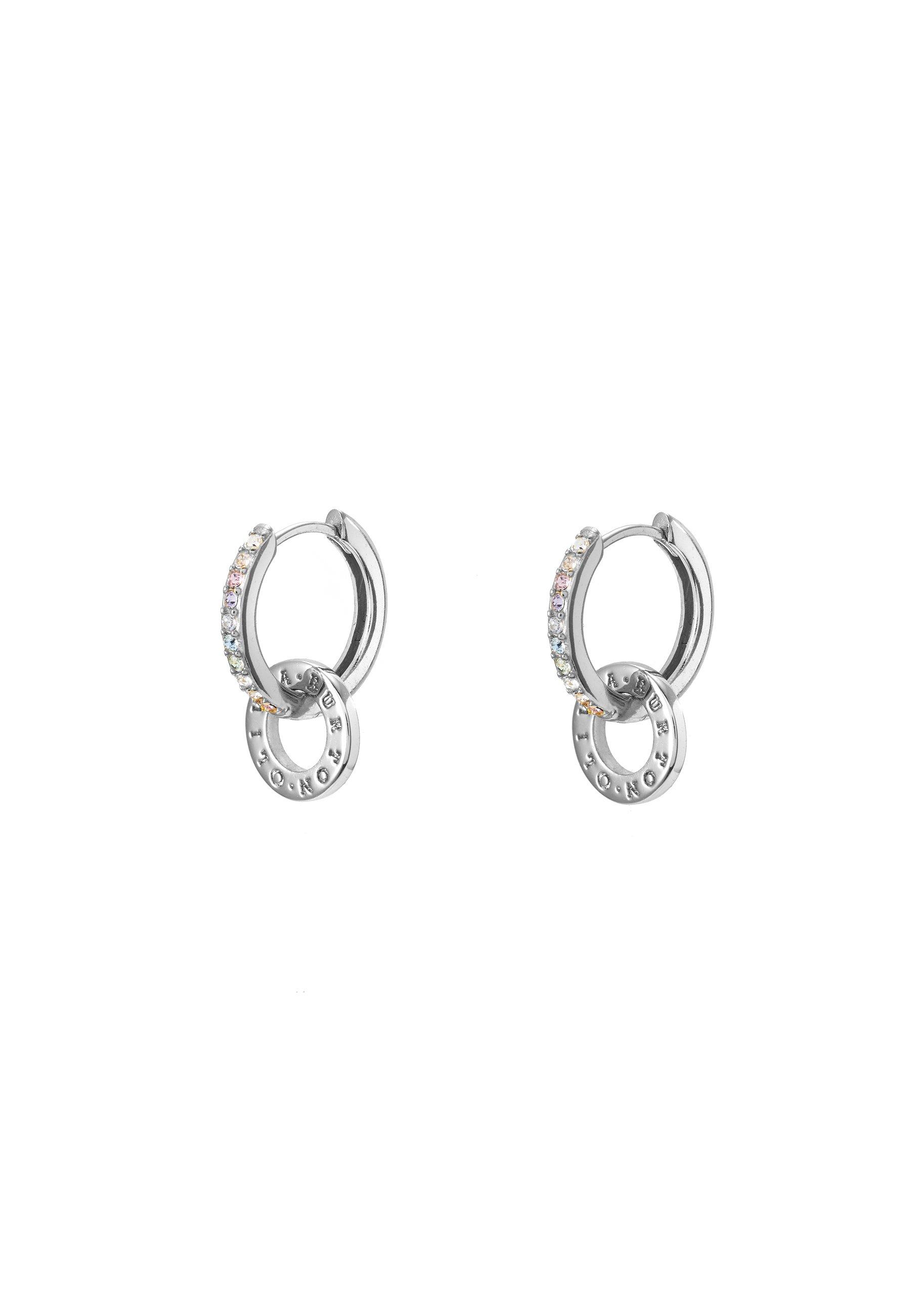 Olivia Burton Rainbow Interlink Huggie Hoops - Ohrringe Silver-coloured/silber