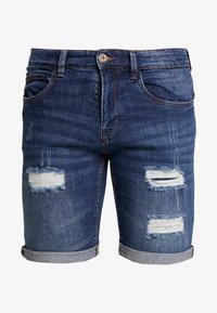 KADEN HOLES - Short en jean - medium indigo