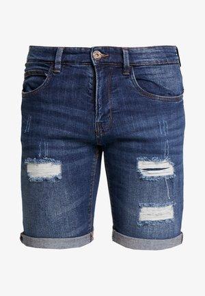 KADEN HOLES - Jeansshorts - medium indigo