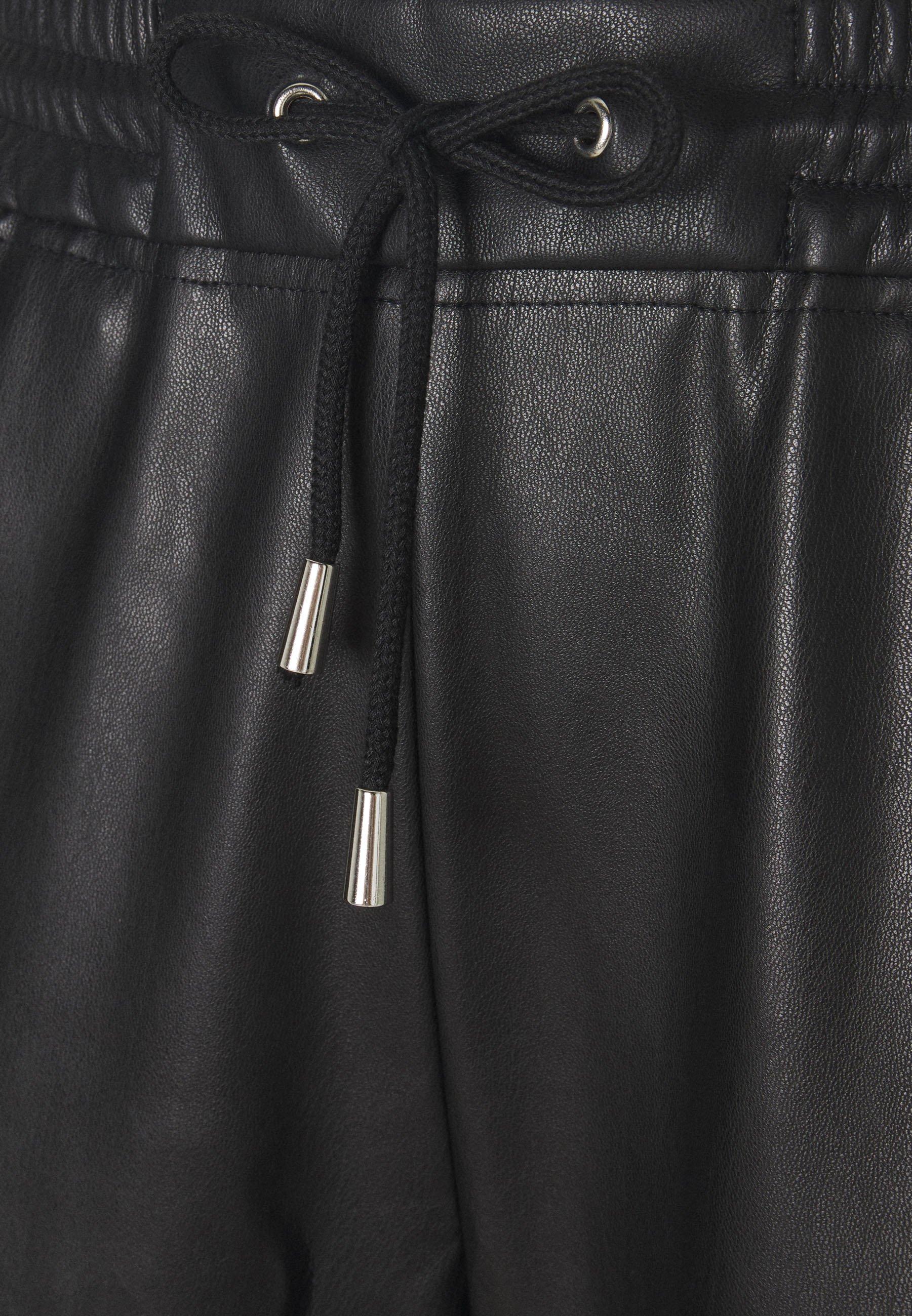 Rich & Royal BIKER JACKET WITH PIPING Leren jas black