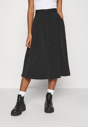 SIGRID BUTTON SKIRT - A-line skjørt - black dark