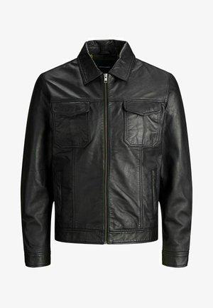 FLÜGELKRAGEN - Leather jacket - black