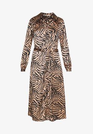 DRESS - Shirt dress - black/brown