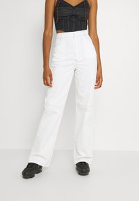 Missguided - CONTRAST STRAIGHT LEG TROUSER - Trousers - white - 0