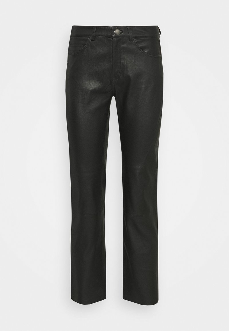 Samsøe Samsøe - ALANA TROUSERS - Leather trousers - black
