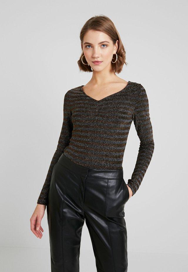 VIGLINA - Long sleeved top - black/silver/copper