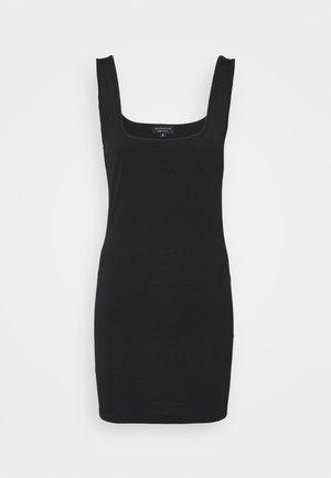 SUSTAINABLE SQUARE NECK MINI DRESS - Vestito di maglina - black