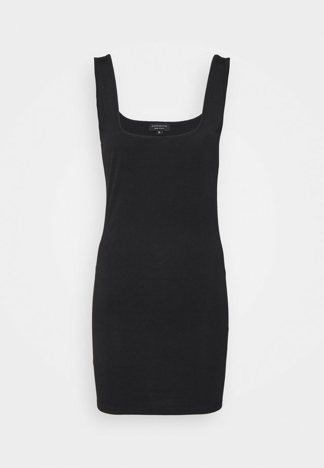 SUSTAINABLE SQUARE NECK MINI DRESS - Robe en jersey - black