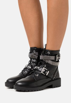 BLING LACE UP - Cowboy/biker ankle boot - black