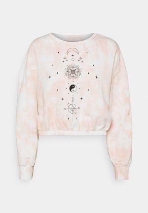 Tie Dye Printed Cropped Sweatshirt - Sudadera - light pink