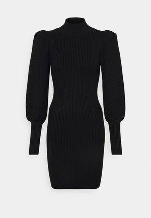 CALEB PUFF MINI DRESS - Stickad klänning - black