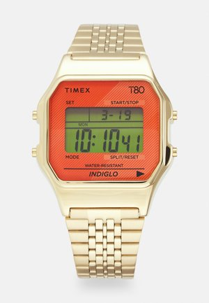 T80 UNISEX - Digital watch - gold-coloured/citron/orange