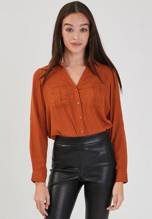 LONG SLEEVE - Button-down blouse - marron cognac