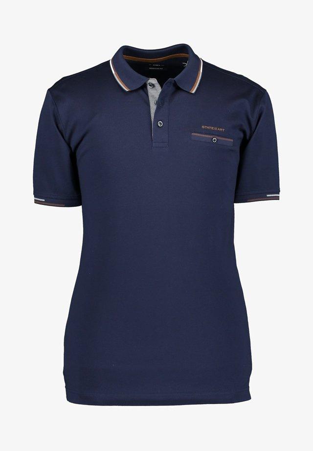 WITH PASPEL POCKET - Poloshirt - navy plain