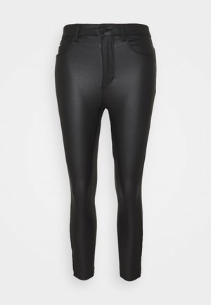 ONLROYAL COATED ANKLE ZIP PANT - Trousers - black