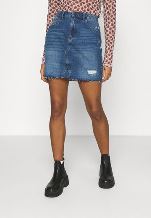 NMFREJA DESTROY  SKIRT - Minirok - light blue denim