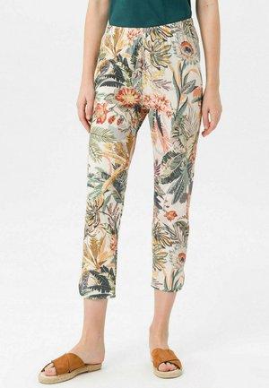 Trousers - beige/multicolor
