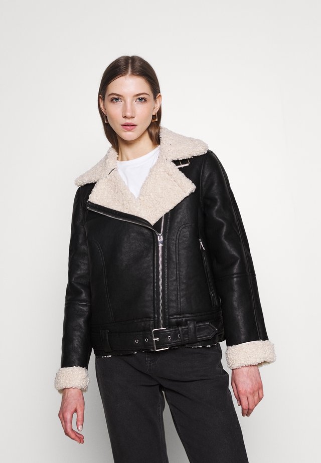 FELICITY BORG BIKER - Faux leather jacket - black