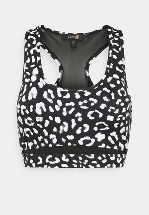SHARP CONTRAST MIDI - Sports bra - black