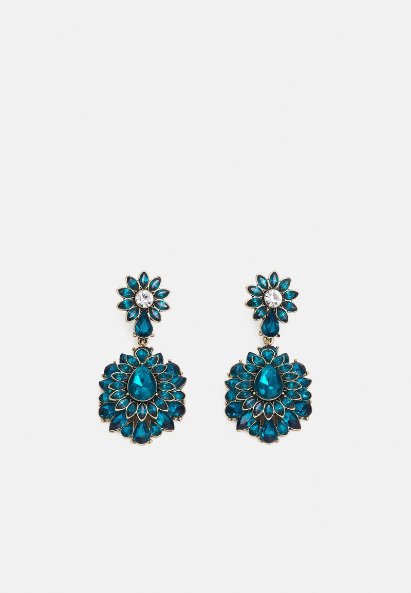 Pieces - PCLAURENCE EARRINGS - Earrings - gold-coloured/green/clear