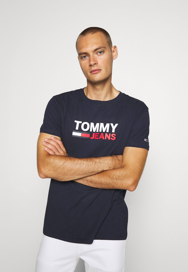 Tommy Jeans - CORP LOGO TEE - T-shirt con stampa - twilight navy
