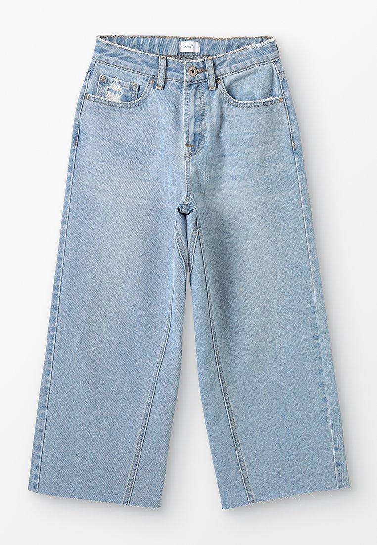 Grunt - WIDE LEG CROP  - Široké džíny - mid blue