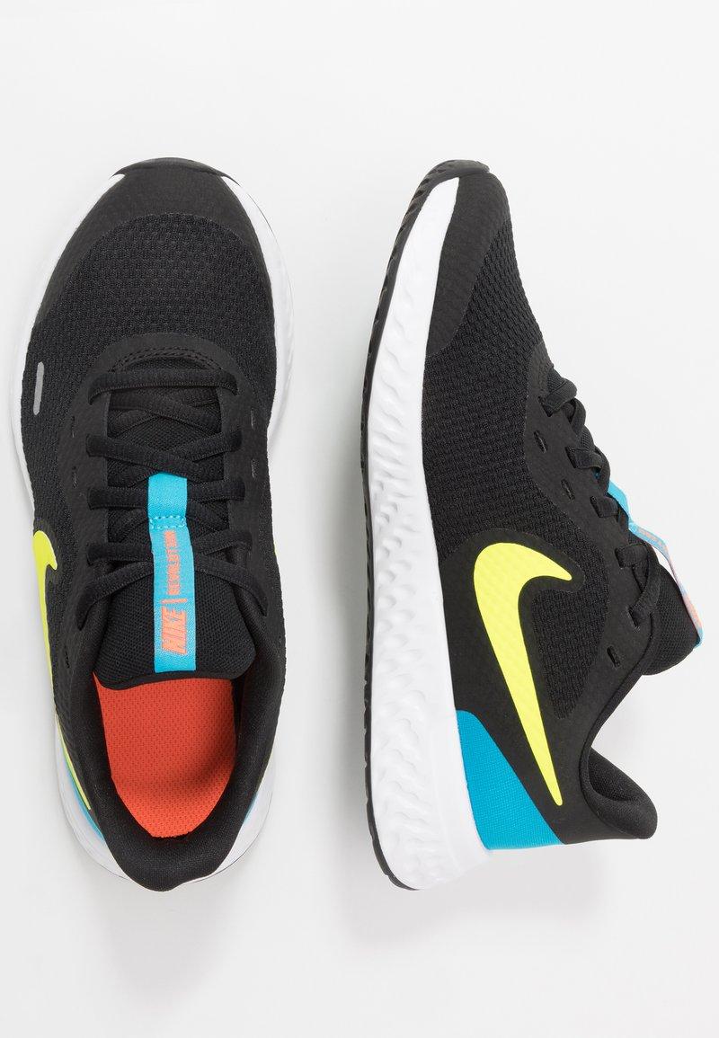 Nike Performance - REVOLUTION UNISEX - Neutral running shoes - black/lemon/laser blue/hyper crimson/white