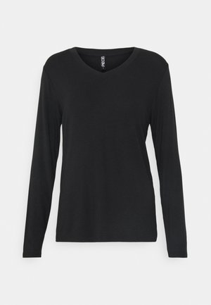 PCNEORA V NECK - Long sleeved top - black