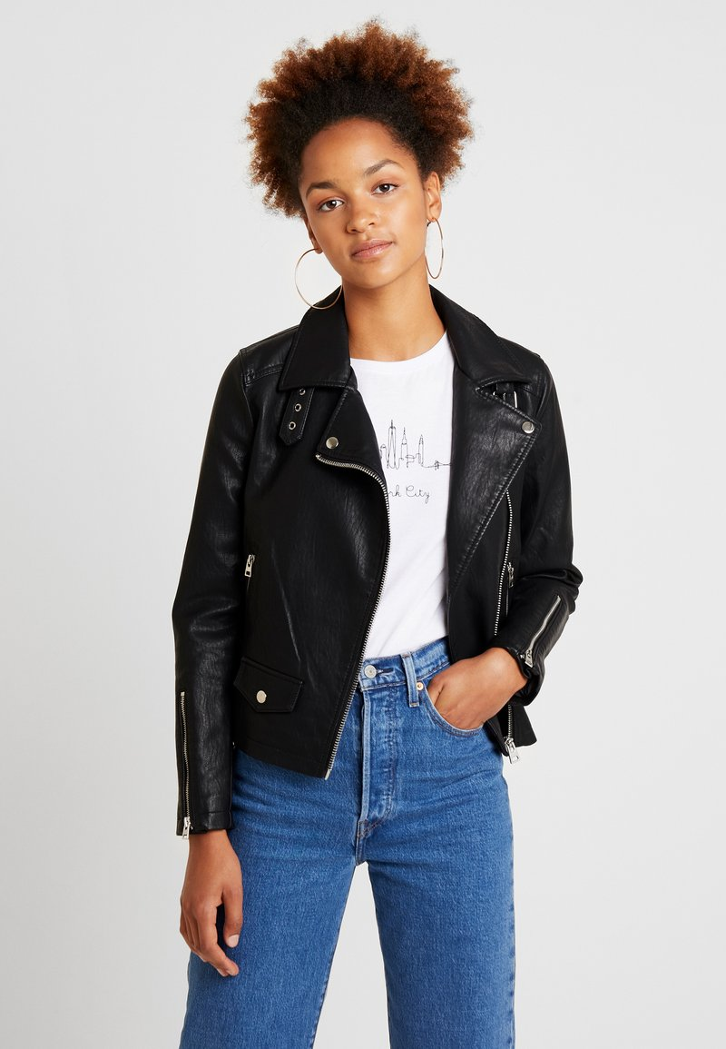Topshop - LUCKY - Faux leather jacket - black