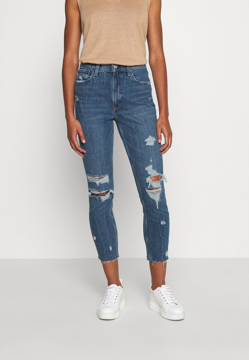 Abercrombie & Fitch - MOM JEANS - Slim fit jeans - dark wash with destroy