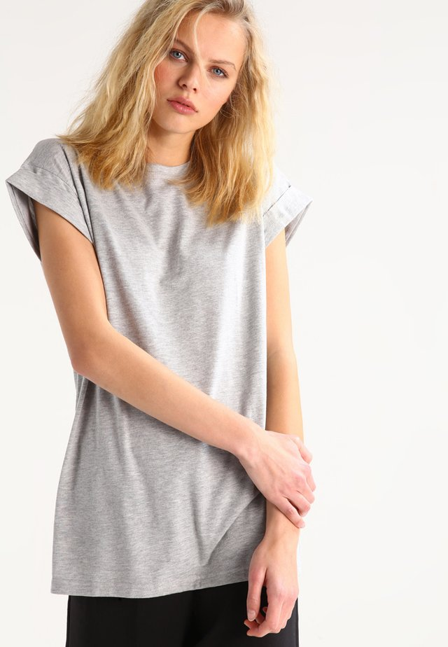 ALVA PLAIN TEE - Basic T-shirt - light grey melange