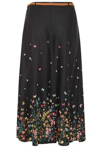Yours Clothing - FLORAL BUTTERFLY  - Maxi skirt - black - 3