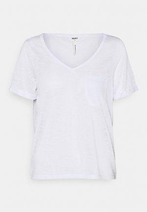 OBJTESSI SLUB V NECK - T-shirt print - white