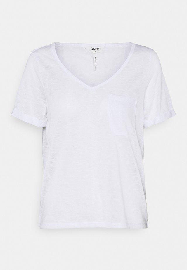 OBJTESSI SLUB V NECK - Print T-shirt - white