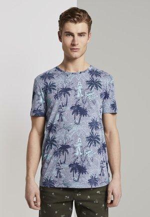 Shirt - navy yd stripe mini print