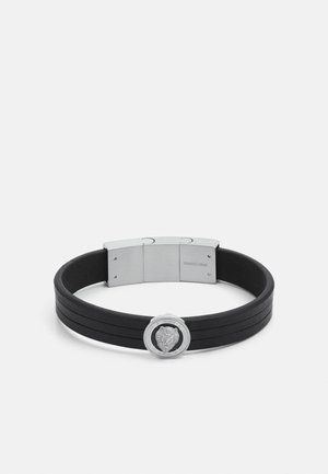 LION COIN LEATHER BRACELET - Bracelet - silver-coloured/black