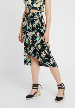 LOVISA WRAP SKIRT - Wrap skirt - black/multi-coloured