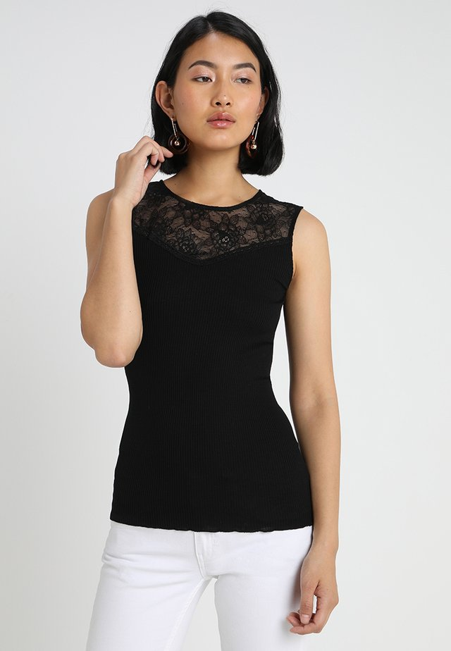 SILK-MIX TOP WITH LACE - Top - black